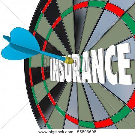Insurance Word Dart Board Choosing Best Policy Plan Coverage
