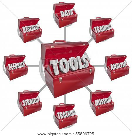 Toolboxes Success Goal Tools Grow Learn Skills
