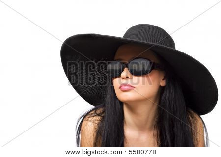 Young Brunette In Black Hat