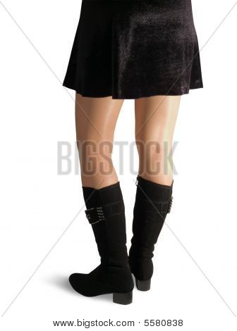 Female Legs In Black High Shoes
