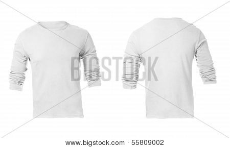Men's Blank White Long Sleeved Shirt Template