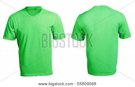 Men's Blank Green V-neck Shirt Template
