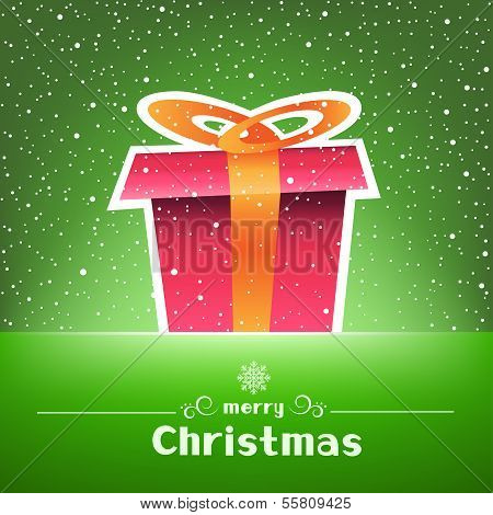 Christmas gift green card with snow around