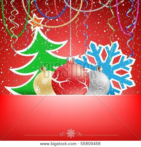 Christmas red card snow ribbons and bauble