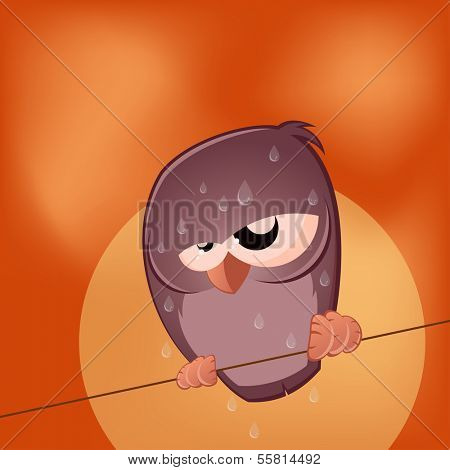 sullen cartoon bird is sweating