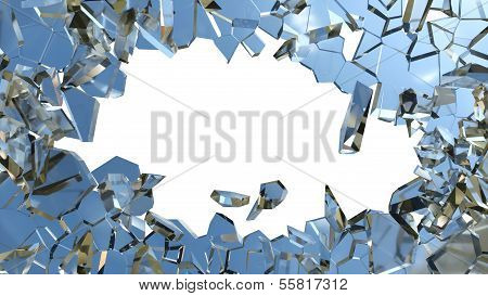 Blue Smashed Glass Pieces Isolated On White