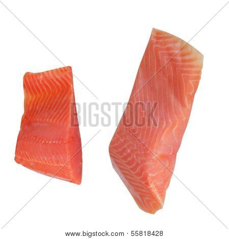 Two Piece Of Red Fish Fillet Isolated On White