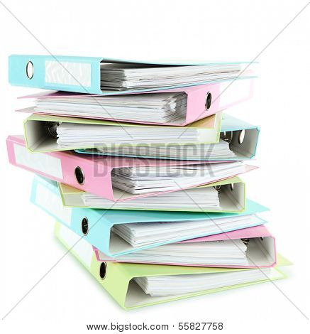 Colorful folders, isolated on white