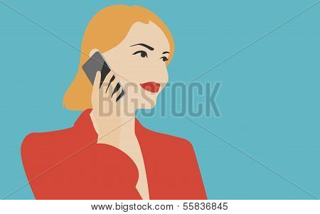 Woman Talking On The Mobile Phone Illustration