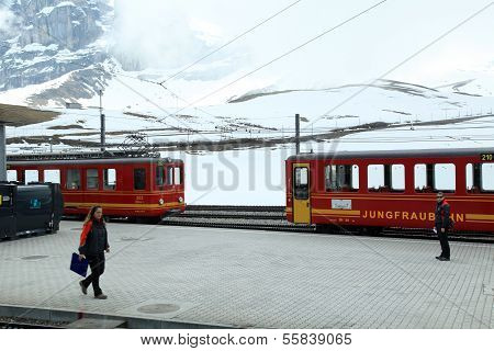 Trains Of Cog Railway To Jungfrau, Switzerland