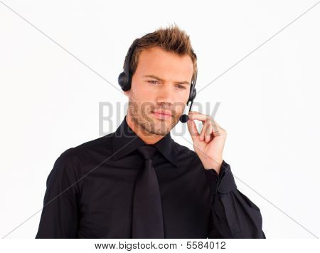 Thoughtful Customer Service Representative Man