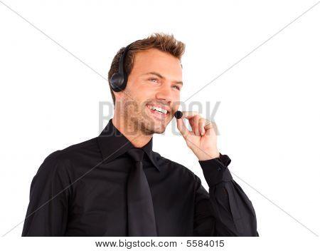 Customer Service Representative Man Talking On A Headet