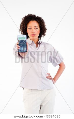 Confident Brunette Businesswoman Holding A Calculator
