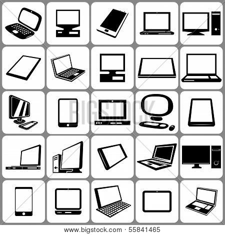 Computer tablet and notebook icons set