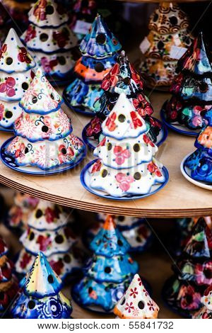 Colorful Ceramics In Traditonal Polish Market.