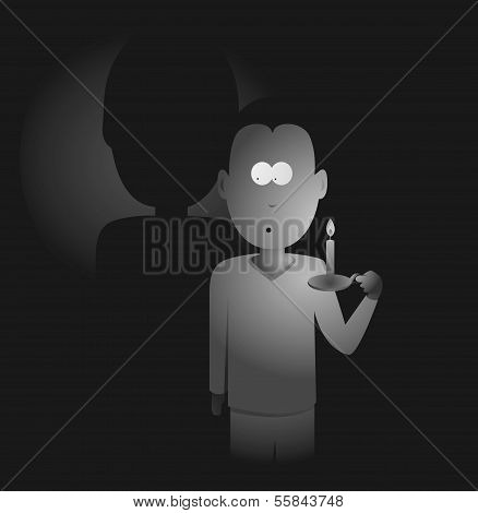 Man Holding A Candle In The Darkness