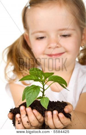 Happy Little Girl Holding A New Plant With Soil
