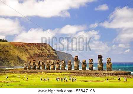 CHILE - FEBRUARY 6: Moais of Ahu Tongariki on Easter Island, Chile.