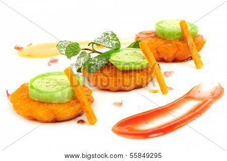 Japanese dessert Mochi with sliced mandarines served on plate