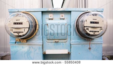 Dual Glass Dome Watt Hour Electric Utility Meters Dock Outside