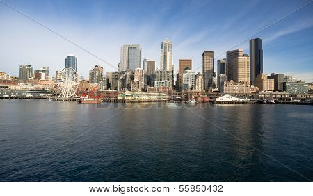 Waterfront Piers Dock Buildings Ferris Wheel Boats Seattle Elliott Bay