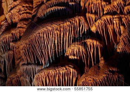 Limestone drapery shapes in Soreq Cave Israel