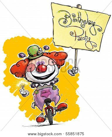 Clown On Unicycle Holding A Birthday Party Placard