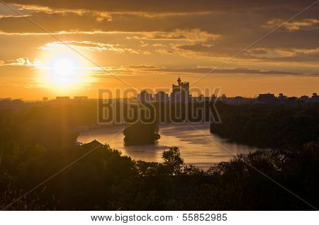 Belgrade skyline at the confluence of rivers Danube and Sava