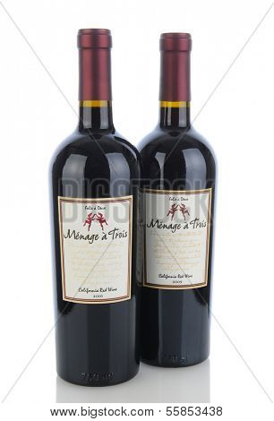 IRVINE, CA - January 11, 2013: Two 750 ml Bottles of Menage a Trois California Red Wine. Produced by the award winning winery Folie a Deux in Sonoma.