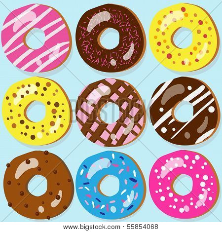 Set Of 9 Assorted Donut Icons With Different Toppings