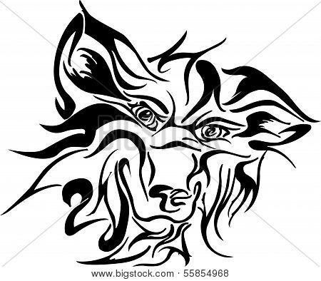 Vector image of face dog tribal on a white background