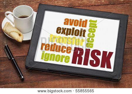 risk management strategies - ignore, accept, avoid, reduce, transfer and exploit - word cloud on a digital tablet