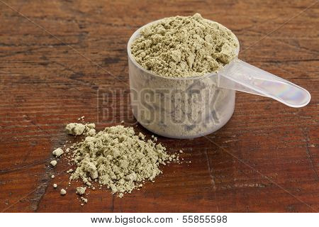 measuring scoop of kelp powder nutritional supplement reach in Iodine, Calcium, Iron, Potassium, Vitamin B1, B2, B12 and polysaccharides