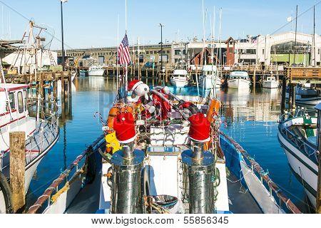 Sailing Boats At Fishermans Wharf With Cristmas Decoration