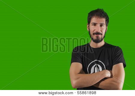 Young Crazy Man. Isolated Over Green Background