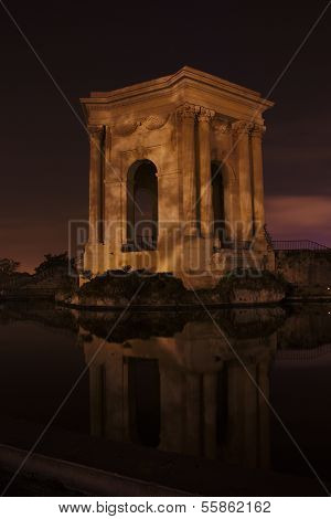 Night View Of The Water Tower On Place Du Peyrou, Montpellier, France