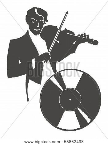 Male violinist playing the violin
