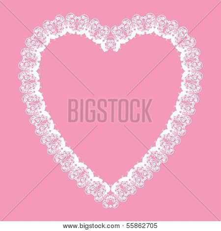 White Lace-like Heart Shape Frame, Vector Background, Valentine Or Wedding Card Design