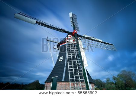 Dutch Windmill Over Sky