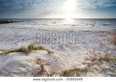 Sunshine Over Sand Beach And North Sea
