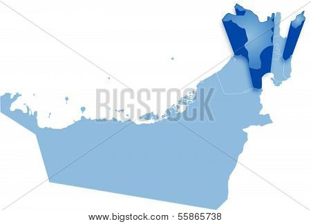 Map of United Arab Emirates where Sharjah is pulled out