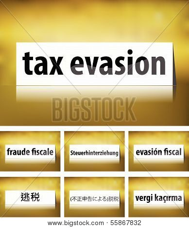 Tax Evasion Concept on white background