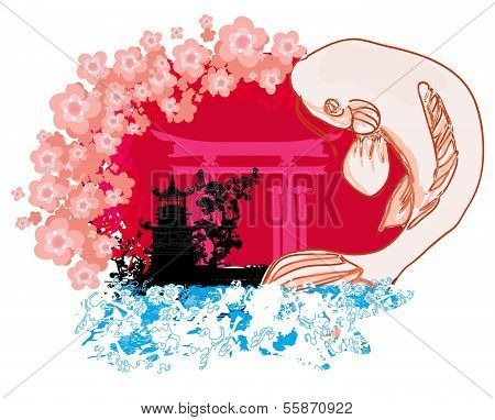 Japanese Koi And Ancient Building Background