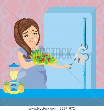 Girl On A Diet - Refrigerator With Chain And Lock