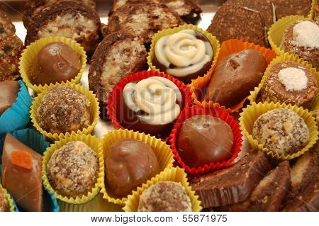 Homemade various chocolate truffles