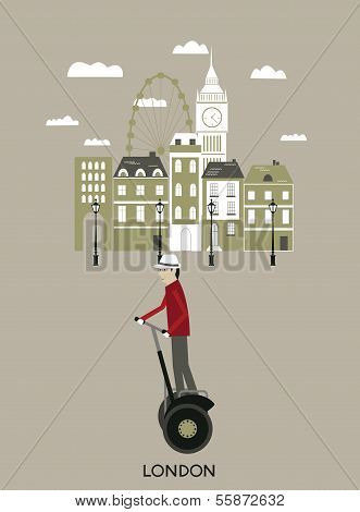 Man riding a segway. London.