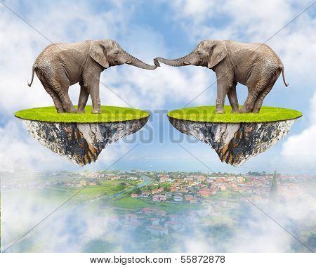 Loving Elephants - forever together. Love concept. Valentine background.