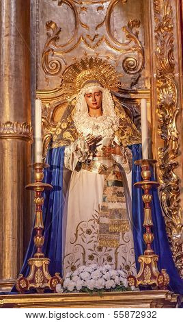 Basilica Mary With Tears Statue Church Of El Salvador Seville Andalusia Spain