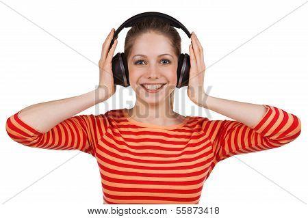 Girl Listens To Music On Headphones