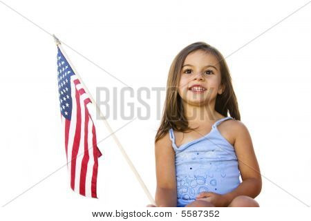 All-american Girl With U.s. Flag